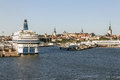 Port of tallinn estonia view from the sea over the old town the on the background Stock Photos