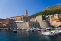 Port at town Dubrovnik in Croatia Royalty Free Stock Images