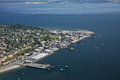 Port townsend olympic peninsula aerial view of the city of and hudson point in washington state Royalty Free Stock Photography