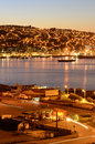 Port of valparaiso at night view the harbor and bay Stock Images