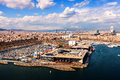 Port vell at barcelona in sunny day spain Stock Photos