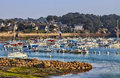 Port yachts brittany ploumanach vicinity pink granite coast north west france Stock Images