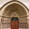 Porta coeli gothic portal of the romanesque gothic basilica of the assumption of the virgin mary czech republic built in Stock Photo