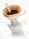Portable china filter with ground coffee Stock Photo