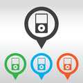 Portable media player icon. Flat design style. icon map pin Royalty Free Stock Photo
