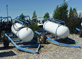 Portable propane large tanks on trailers Stock Photo