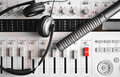 Portable sound mixer with hi fi condenser microphone and headphones enginier setup noise guard Royalty Free Stock Photo