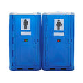 Portable toilet two blue plastic cabins isolated Royalty Free Stock Image
