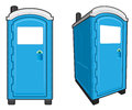 Portable toilets illustration of a toilet front view and front angle view Stock Image