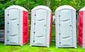 Portable toilets for outside events. Royalty Free Stock Photography