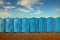Portable toilets photo of and blue sky Stock Photos
