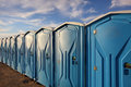 Portable toilets photo of in a raw Royalty Free Stock Photos