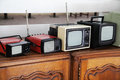 Portable vintage TV sets Royalty Free Stock Photo