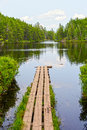 Portage dock in the wilderness to swamp lake quetico Royalty Free Stock Image