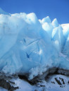 Portage glacier close up a of the uniquely shaped features of the blue ice of Stock Photo