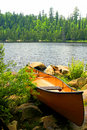 Portage Ready Canoe Royalty Free Stock Image