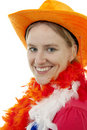 Portait of Dutch soccer fan Royalty Free Stock Photo
