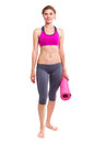 Portait of young woman with yoga mat. Royalty Free Stock Photo
