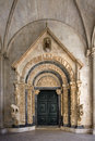 Portal of Cathedral of St. Lawrence in Trogir, Croatia, front view Royalty Free Stock Photo