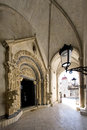 Portal of Cathedral of St. Lawrence in Trogir, Croatia, view from inside Royalty Free Stock Photo
