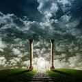 Portal ii fantasy landscape with to another dimension Royalty Free Stock Images