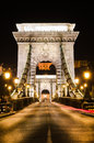 Portalen av Szechenyi den Chain bron, Budapest Royaltyfri Bild