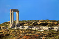 Portara naxos island greece cyclades islands temple of apollo the north west portal made from three massive blocks of marble and Stock Photos