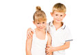 Portarit of smiling boy hugging girl Royalty Free Stock Image