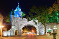 Porte dauphine in quebec city gate closeup at night Royalty Free Stock Image