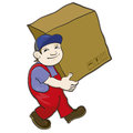Porter carries a box in working uniform heavy Stock Photography