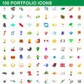100 portfolio icons set, cartoon style