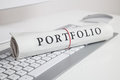 Portfolio written on newspaper Royalty Free Stock Photo