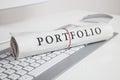 Portfolio written on newspaper Royalty Free Stock Photo