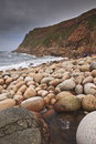 Porth nanven beach in cornwall Stock Photos