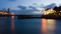 Porthleven cornwall england night at uk Royalty Free Stock Image