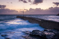 Porthleven cornwall england pier at dusk uk europe Royalty Free Stock Photo