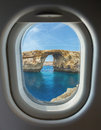 Porthole, Azure Window, stone arch of Gozo, Malta Royalty Free Stock Photo