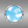 Porthole in a gray metal wall hole the shape of circle on the background of sky eco background round window Stock Images