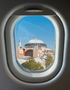 Porthole, Hagia Sophia against the blue sky Stock Photos