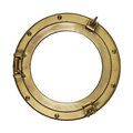 Porthole isolated with clipping path vintage brass on white background Stock Image