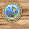 Porthole underwater sea view from the window Royalty Free Stock Photo