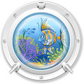 Porthole underwater sea view from the window Stock Photo