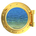 Porthole with a view of water Royalty Free Stock Images