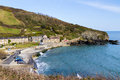 Portholland cornwall england view down to the coastal hamlet of uk Royalty Free Stock Photo
