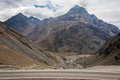 Portillo mountains chile the of cordillera de los andes and the curved caracoles road in Stock Image