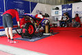 Portimao portugal march picture from the pit lane mecanics preparing carlos checa motorbike on the background superbikes algarve Royalty Free Stock Image