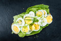 Portion of boiled Eggs & x28;sliced& x29; Royalty Free Stock Photo