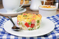 Portion casserole baked vegetable ham with cheese Stock Images