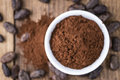 Portion of cocoa powder selective focus as detailed close up shot Royalty Free Stock Photos