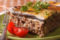 Portion of delicious Greek moussaka on the plate close-up. horiz Royalty Free Stock Photo
